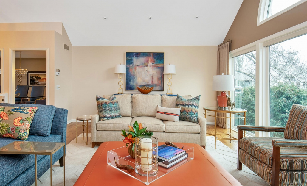 Custom upholstery on couches, chairs, and windows